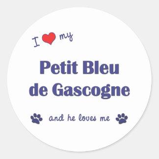 J aime mon Petit Bleu de Gascogne le chien mascul Adhésif Rond