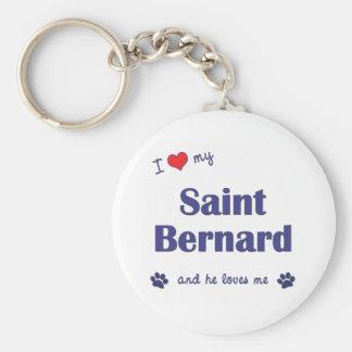 J aime mon St Bernard le chien masculin Porte-clés