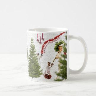 Jack Russell ont vous-même un Joyeux Noël Mug Blanc