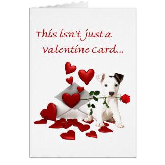 Jack Russell Terrier rose et coeurs Valentine Carte De Vœux
