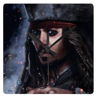 Jack Sparrow - pirate légendaire Horloge Carrée