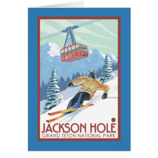Jackson Hole, skieur du Wyoming et tram Carte De Vœux