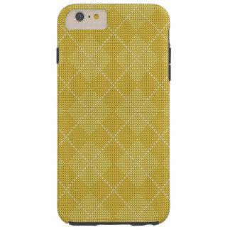 Jacquard de très bon goût jaune de moutarde rétro coque tough iPhone 6 plus