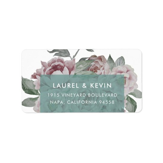 Jade de retour floral des étiquettes de adresse |