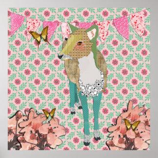 Jaded Deer Retro Floral Poster