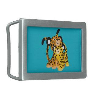 Jaguars mignons de bande dessinée dans la boucle boucles de ceinture rectangulaires