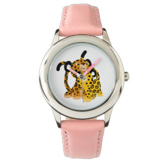 Jaguars mignons de bande dessinée dans la montre montres bracelet