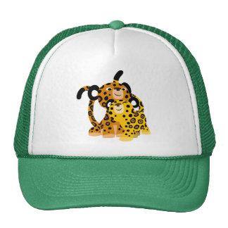 Jaguars mignons de bande dessinée dans le chapeau casquette