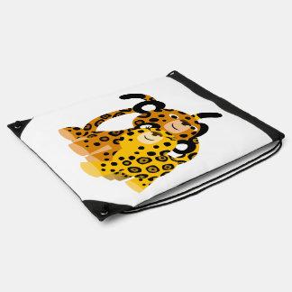 Jaguars mignons de bande dessinée dans le sac à sacs à dos