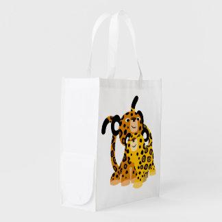 Jaguars mignons de bande dessinée dans le sac sacs d'épicerie réutilisables