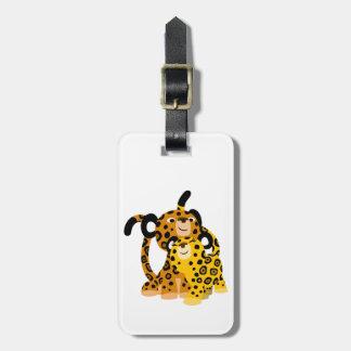 Jaguars mignons de bande dessinée dans l'étiquette étiquette à bagages