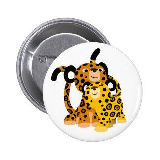 Jaguars mignons de bande dessinée dans l'insigne badge rond 5 cm