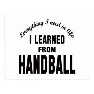 J'ai appris du handball cartes postales