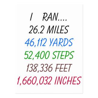 J'ai couru 26,2 milles carte postale
