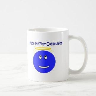 J'ai fait mon premier smiley de bleu de communion tasse à café