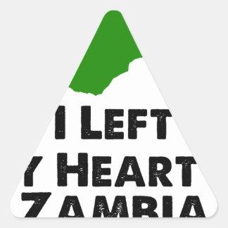 J'ai laissé mon coeur en Zambie Sticker Triangulaire