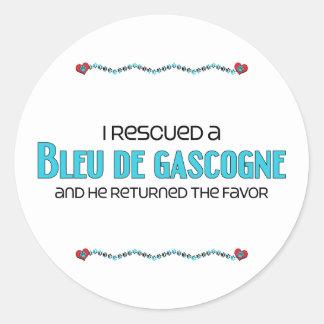J'ai secouru un Bleu de Gascogne (le chien Sticker Rond