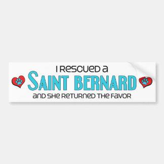 J'ai secouru un St Bernard (le chien femelle) Autocollant De Voiture