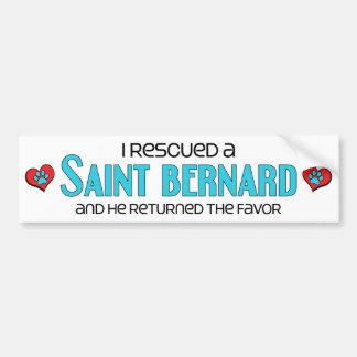 J'ai secouru un St Bernard (le chien masculin) Autocollant De Voiture
