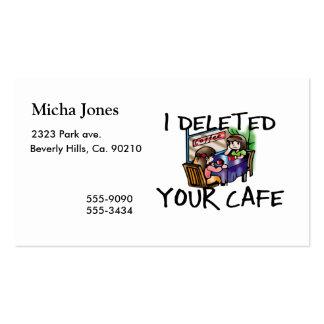 J'ai supprimé votre café carte de visite standard