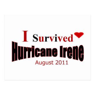 J'ai survécu à la carte postale d'Irène d'ouragan
