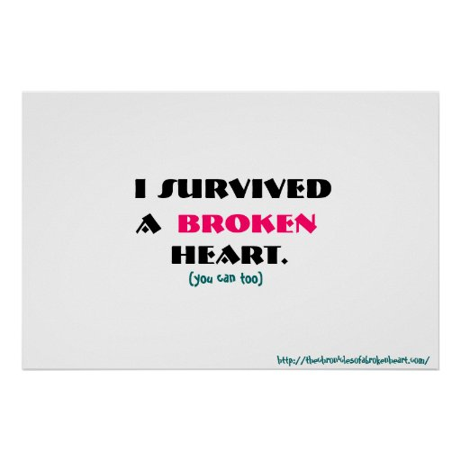 J'ai survécu à une affiche du coeur brisé