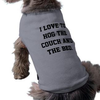 J'aime accaparer dire de divan t-shirt pour chien