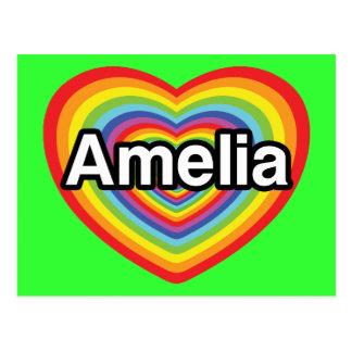 J'aime Amelia, coeur d'arc-en-ciel Carte Postale