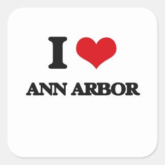 J'aime Ann Arbor Autocollant Carré