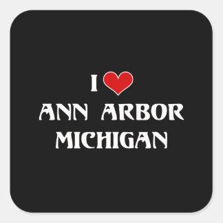 J'aime Ann Arbor, Michigan Sticker Carré
