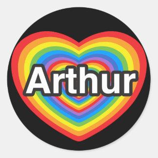 J'aime Arthur. Je t'aime Arthur. Coeur Sticker Rond