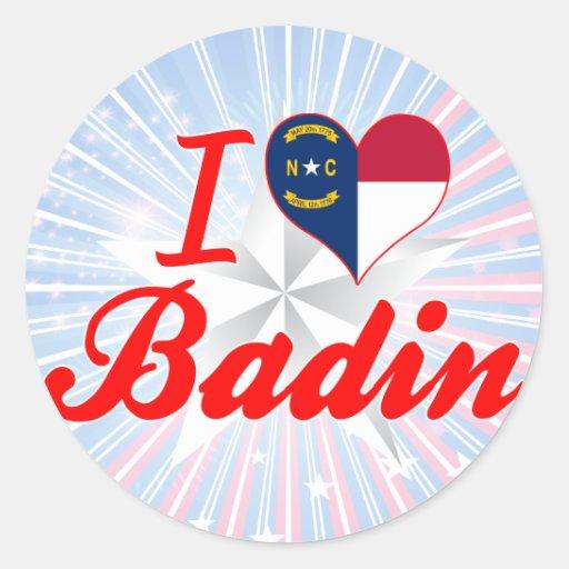 J'aime Badin, la Caroline du Nord Autocollants