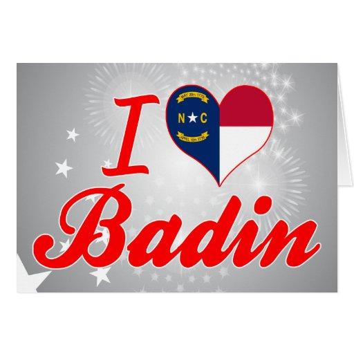 J'aime Badin, la Caroline du Nord Cartes