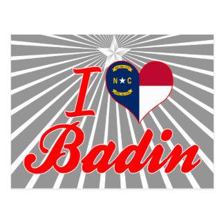 J'aime Badin, la Caroline du Nord Cartes Postales