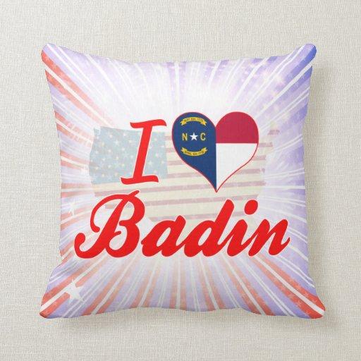 J'aime Badin, la Caroline du Nord Oreillers