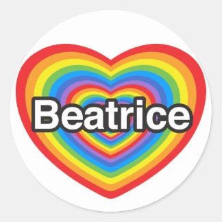 J'aime Béatrice. Je t'aime Béatrice. Coeur Autocollant Rond