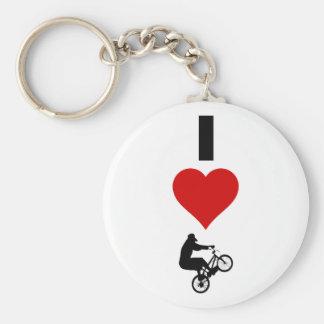 J'aime BMX (vertical) Porte-clé Rond