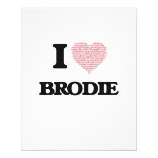 J'aime Brodie (le coeur fait à partir des mots Prospectus 11,4 Cm X 14,2 Cm