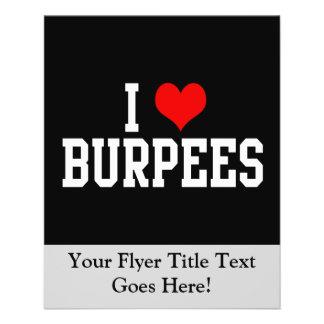 J'aime Burpees, forme physique Prospectus 11,4 Cm X 14,2 Cm
