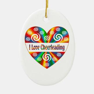 J'aime Cheerleading Ornement Ovale En Céramique