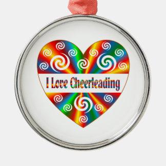 J'aime Cheerleading Ornement Rond Argenté