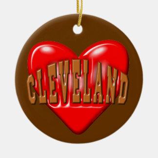 J'aime Cleveland Ornement Rond En Céramique