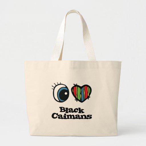 J'aime (coeur) les caimans noirs sac en toile
