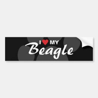 J'aime (coeur) ma race de beagle autocollant pour voiture