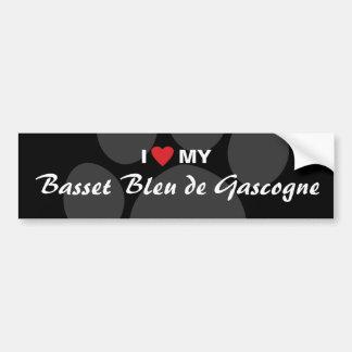 J'aime (coeur) mon Basset Bleu de Gascogne Autocollant Pour Voiture