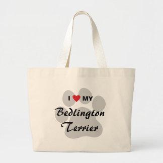 J'aime (coeur) mon Bedlington Terrier Grand Sac