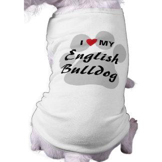 J'aime (coeur) mon bouledogue anglais Pawprint T-shirt Pour Chien