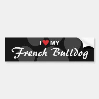 J'aime (coeur) mon bouledogue français autocollant pour voiture
