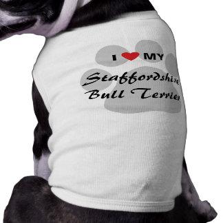 J'aime (coeur) mon bull-terrier du Staffordshire T-shirt Pour Chien