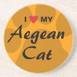 J'aime (coeur) mon chat égéen Pawprint Dessous De Verres